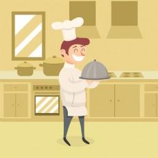 手绘微笑的厨师厨房背景