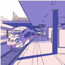 彩绘高铁列车车站