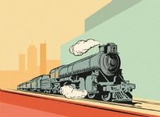 手绘复古风格火车插图