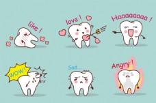 表情卡通可爱小牙齿扁平画矢量素材