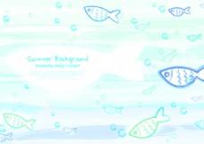 矢量线框海底鱼类