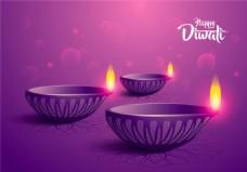 卡通油灯紫色背景图片1
