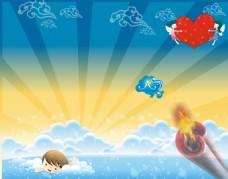 卡通阳光游泳背景