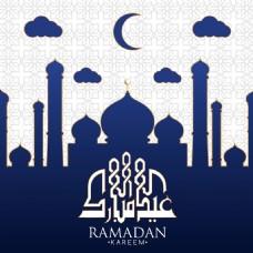 蓝色伊斯兰教堂剪影斋月背景