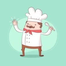 手绘拿着勺子的厨师绿色背景