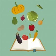 健康的蔬菜食物书本绿色背景