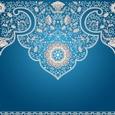 蓝色矢量花纹背景