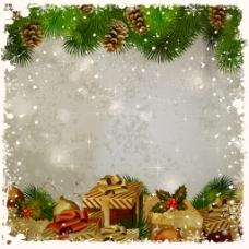 彩色圣诞树边框背景