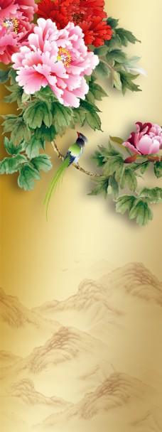 精美牡丹花小鸟展板背景