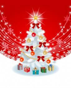 白色圣诞树红色灯光背景