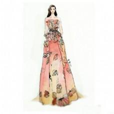 彩色蝴蝶纹礼服设计图