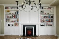 美式白色书柜设计效果图