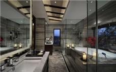 时尚卫生间洗手台浴缸背景墙设计图