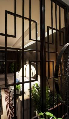 新中式客厅格栅效果图