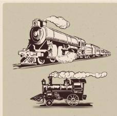 两款老式蒸气火车插图