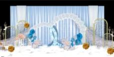 淡蓝色婚礼迎宾区