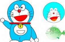 自己画的蓝胖子和鱼