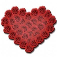 爱心红玫瑰PSD素材