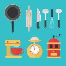 扁平风格各种厨房用品矢量素材