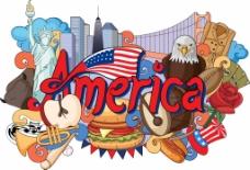 美国旅行插画