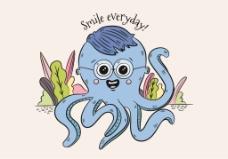 手绘卡通章鱼插画