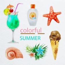 水彩绘夏季元素矢量