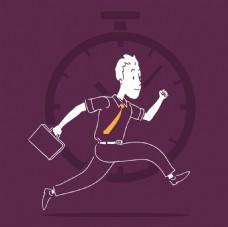 手绘商务人士奔跑插图紫色背景
