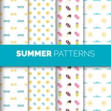 几个夏天元素装饰图案背景