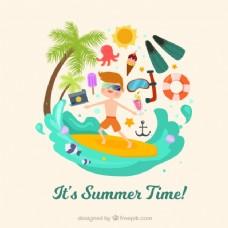夏季背景冲浪和装饰项目