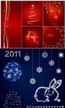圣诞节蓝色红色背景图