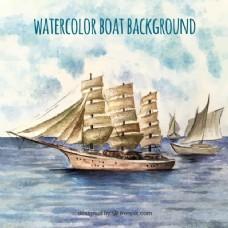 水彩背景与旧船