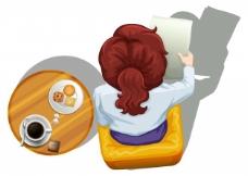 一个女人读Topview在桌子旁边的白色背景上的解读