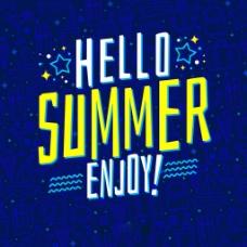 现代夏季元素艺术字设计蓝色背景