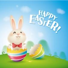 可爱的兔子复活节背景素材