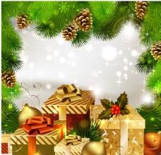 金色礼盒圣诞树背景