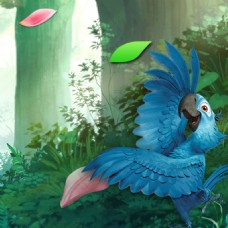 花瓣树叶青草蓝色鹦鹉绿色背景素材