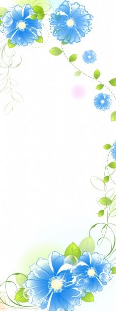 精美简约蓝色花儿展板背景