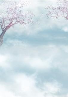 浪漫天空小树背景