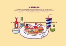 手绘彩色美食餐具背景设计