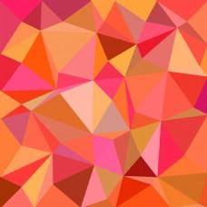 橙色红色马赛克多边形装饰图案背景
