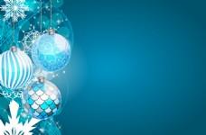 彩色圆球雪花圣诞背景