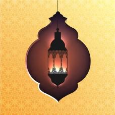 開齋節阿拉伯燈插圖黃色背景