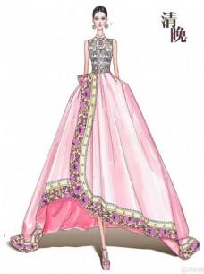 粉色花边礼服设计图