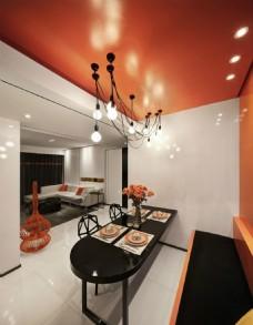 現代室內餐廳餐桌效果圖