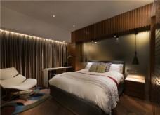简约卧室大床背景墙设计图