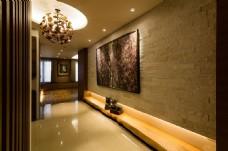 新中式简约室内吊灯背景墙设计图