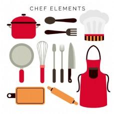 手绘各种厨师用品厨具平面设计素材