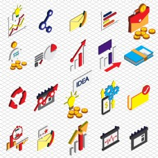 各种金融业务图标等轴图形插图