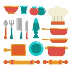 各种彩色厨房用品矢量素材