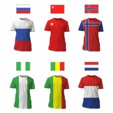 多个国家国旗图案t恤模板